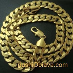 Позлатен ланец 14 карата класическа плетка 50 см
